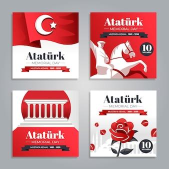 Płaska kolekcja postów na instagramie z okazji dnia pamięci ataturka