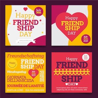 Płaska kolekcja postów na instagramie z okazji międzynarodowego dnia przyjaźni