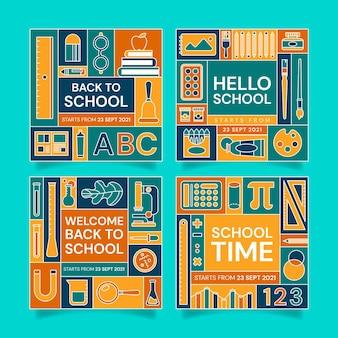 Płaska kolekcja postów na instagramie z powrotem do szkoły