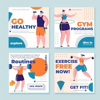 Płaska kolekcja postów na instagramie zdrowia i fitness