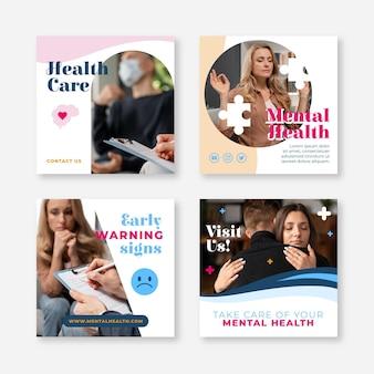 Płaska kolekcja postów na instagramie zdrowia psychicznego ze zdjęciem