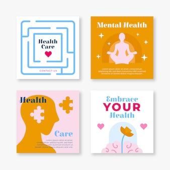 Płaska kolekcja postów na instagramie zdrowia psychicznego