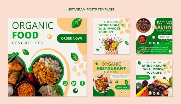 Płaska kolekcja postów na instagramie żywności ekologicznej