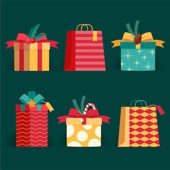 Płaska kolekcja prezentów świątecznych