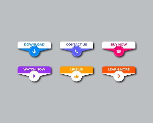 Płaska kolekcja przycisków wezwania do działania wektor