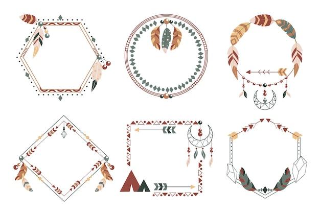 Płaska kolekcja ramek boho
