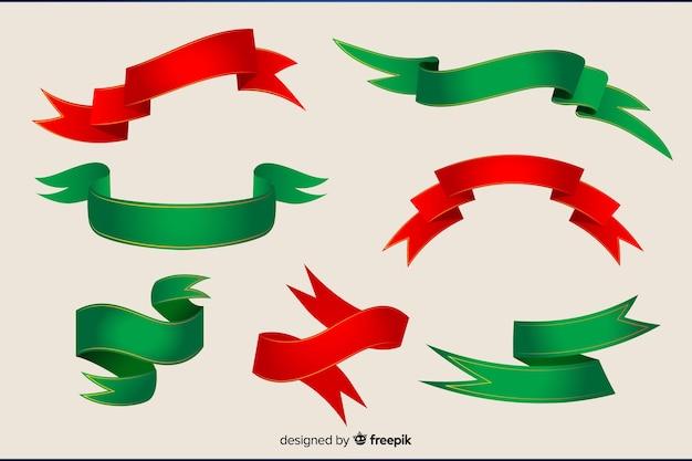 Płaska kolekcja świąteczna czerwony i zielony wstążki