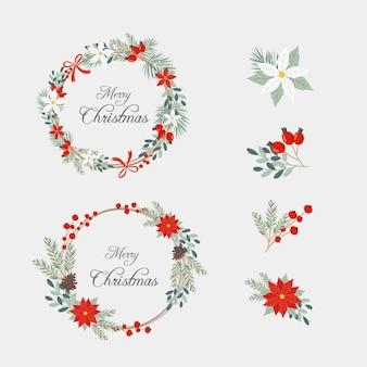 Płaska kolekcja świątecznych kwiatów i wieńców