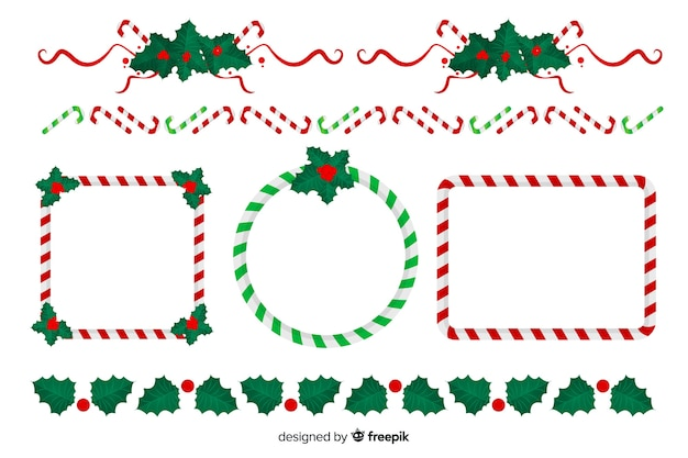 Płaska kolekcja świątecznych ramek i granic