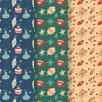 Płaska kolekcja świątecznych wzorów