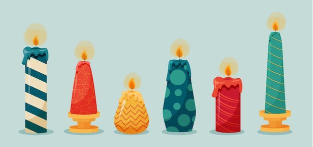 Płaska kolekcja świec świątecznych