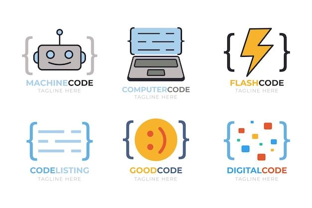 Płaska kolekcja szablonów logo firmy programowania