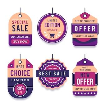 Płaska kolekcja tagów sprzedaży