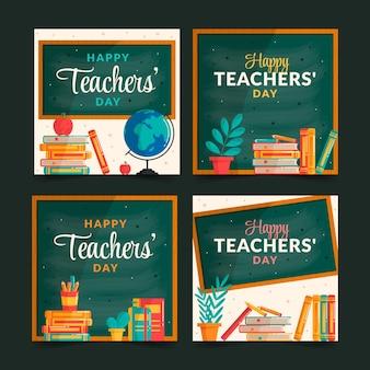 Płaska kolekcja wpisów na instagramie z okazji dnia nauczyciela