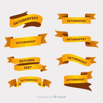 Płaska kolekcja wstążek oktoberfest w odcieniach złotego koloru