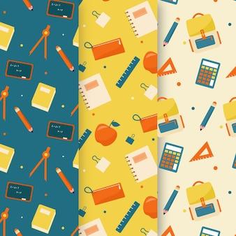 Płaska kolekcja wzorów z powrotem do szkoły