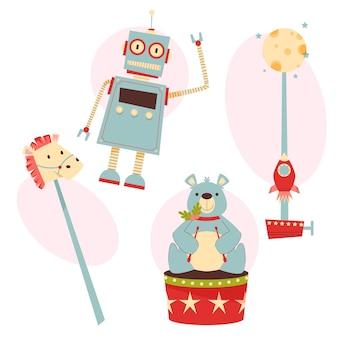 Płaska kolekcja zabawek świątecznych