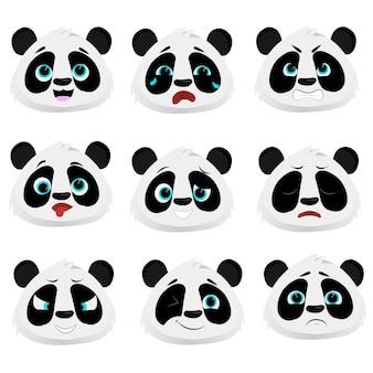 Płaska kolekcja zabawna panda słodka charcter