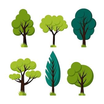 Płaska kolekcja zielonych drzew