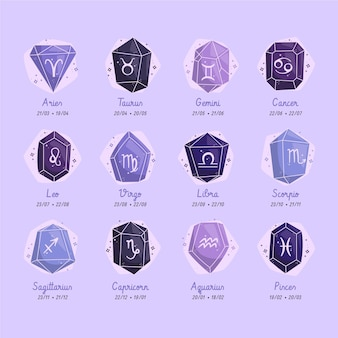 Płaska kolekcja znaków zodiaku
