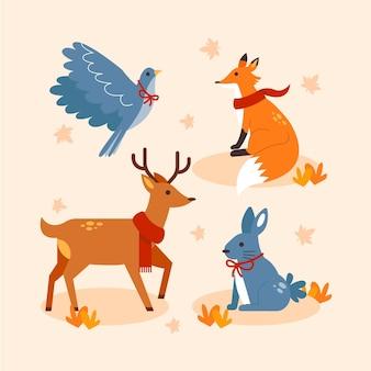 Płaska kolekcja zwierząt jesiennych