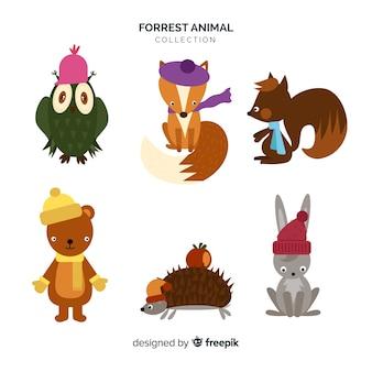 Płaska kolekcja zwierząt leśnych
