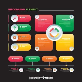 Płaska kolorowa kolekcja elementów infographic