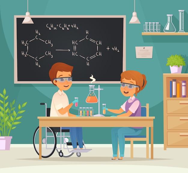 Płaska kolorowa kompozycja edukacyjna obejmująca edukację składającą się z dwóch uczniów w laboratorium