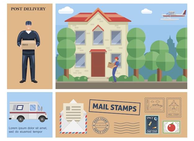 Płaska kolorowa kompozycja usług pocztowych z listonoszem trzymającym kuriera w pudełku dostarczającym paczkę do znaczków pocztowych samolotu van float