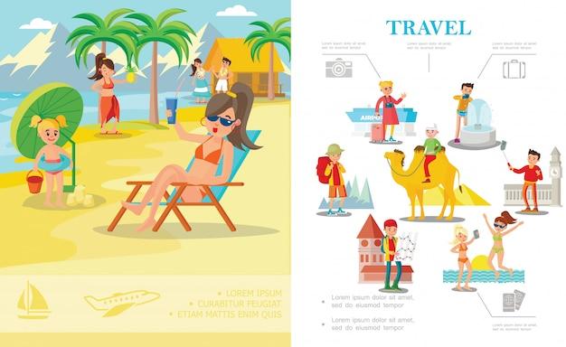 Płaska kolorowa kompozycja wakacyjna z ludźmi relaksującymi się na tropikalnej plaży i turystami podróżującymi po świecie
