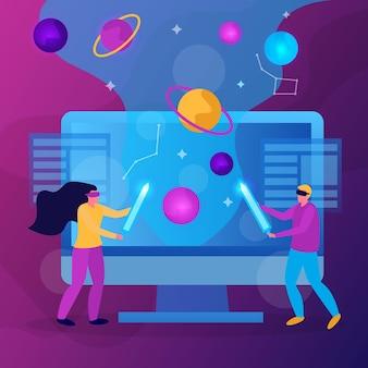 Płaska, kolorowa kompozycja wirtualnej rzeczywistości z abstrakcyjną koncepcją ilustracji wektorowych gry vr