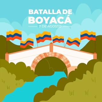 Płaska kolumbijska ilustracja batalla de boyaca