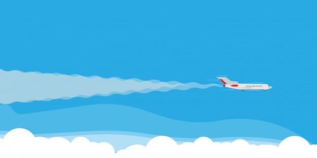 Płaska komarnica w obłocznego nieba sztandaru ilustracyjnym pojęciu. podróż turystyka jet kierunek wakacje mieszkanie.