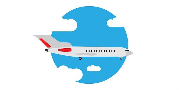 Płaska komarnica w obłocznym niebo ilustraci sztandarze. podróż turystyka jet kierunek wakacje mieszkanie. cartoon komercyjny pojazd pasażerski