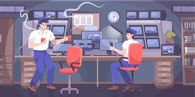 Płaska kompozycja bezpieczeństwa parkingowego z ludzkimi postaciami strażników w pokoju nadzoru cctv z ekranami komputerowymi