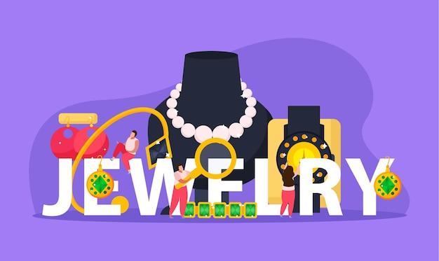 Płaska kompozycja biżuterii z tekstem otoczonym cennymi przedmiotami i doodle postaciami ludzi doodle