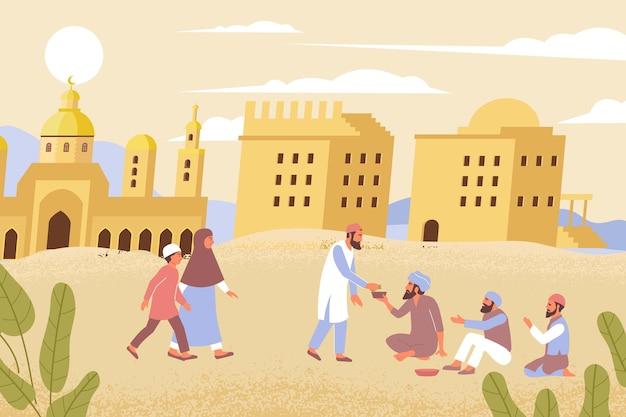 Płaska kompozycja charytatywna ramadan z plenerową scenerią pustyni i muzułmanami dającymi jałmużnę cierpiącej ilustracji