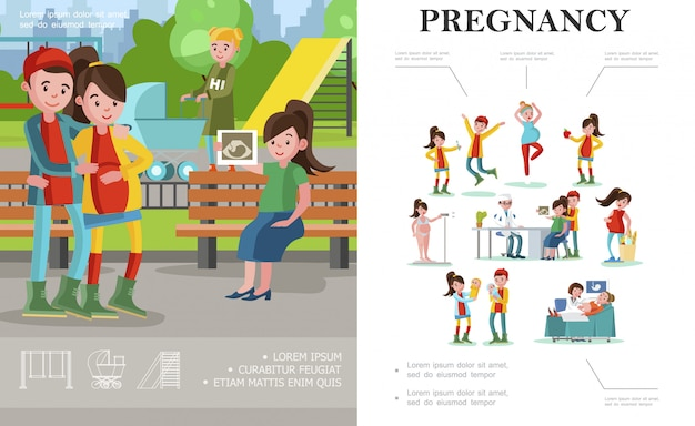 Płaska kompozycja ciąży i macierzyństwa z przyszłymi rodzicami spacerującymi po parku i kobietami w ciąży w różnych sytuacjach