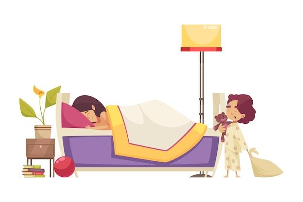Płaska kompozycja czasu snu z kobietą w łóżku i ziewającym małym dzieckiem