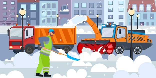 Płaska kompozycja do czyszczenia ulic z widokiem na zimową ulicę miasta ze sprzętem do usuwania śniegu