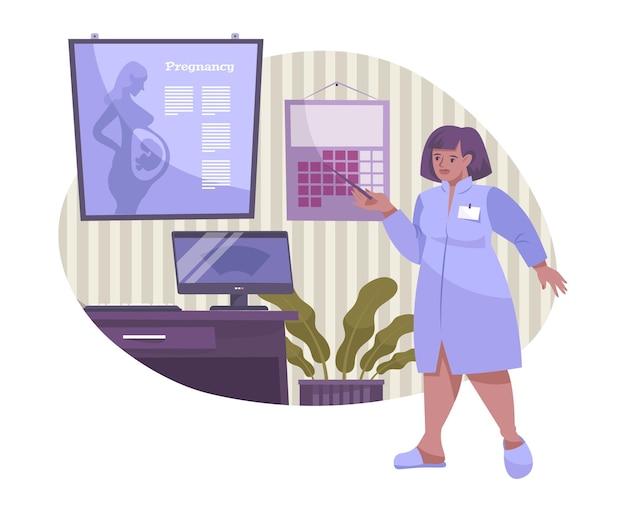 Płaska Kompozycja Do Zapłodnienia In Vitro Z Postacią Lekarki Wskazującą Na Slajd Informacyjny O Ilustracji Ciąży Premium Wektorów