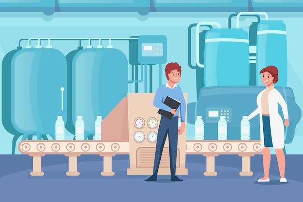 Płaska kompozycja fabryki mleczarskiej z wewnętrzną scenerią z linią przenośnika puszek do przechowywania z butelkami i ludźmi