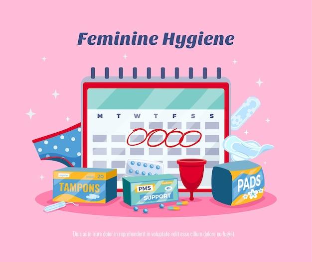 Płaska kompozycja kalendarza menstruacyjnego kobiety na różowo z higieną kobiecą
