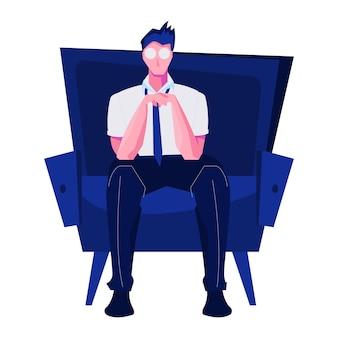 Płaska kompozycja klubu nocnego z odosobnionym charakterem siedzącego mężczyzny z ilustracją pustych oczu