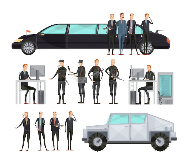 Płaska kompozycja kolorowych agencji wywiadowczych z pracownikami, którzy zapewniają bezpieczeństwo ilustracji wektorowych