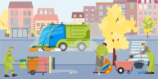 Płaska kompozycja kurzu do czyszczenia ulic z widokiem na ulicę miejską na zewnątrz z czystszymi pojazdami i ludźmi
