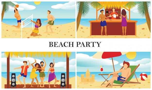 Płaska kompozycja letnich wakacji na plaży z ludźmi grającymi w siatkówkę, tańczącymi, pijącymi koktajle i mężczyzną opalającym się na szezlongu