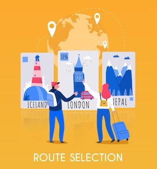 Płaska kompozycja mapy turystycznej z opisem wyboru trasy i ilustracją kilku podróżnych