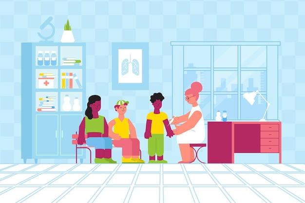 Płaska kompozycja na odporność na szczepienie z nastoletnimi postaciami i lekarzem w swoim gabinecie z meblami