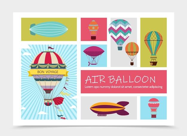 Płaska kompozycja podróży lotniczych ze sterowcami i kolorowymi balonami na ogrzane powietrze z różnymi wzorami ilustracji